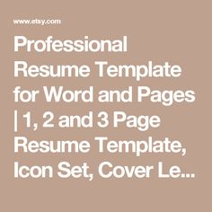 Professional Resume Template for Word and Pages   1, 2 and 3 Page Resume Template, Icon Set, Cover Letter   Instant Download Resume Template by LandedDesignStudio
