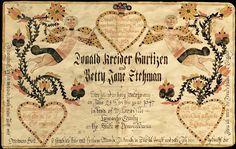 custom fraktur marriage certificate.