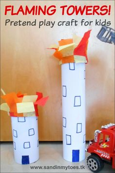 Busy Hands: Flaming Towers - Pretend play craft A fun craft to make towers on fire for pretend play with fire engines. Need excellent helpful hints on arts and crafts? Head out to my amazing info! Fireman Crafts, Firefighter Crafts, Firefighter Birthday, Arts And Crafts Projects, Crafts For Kids, Fire Safety Week, Fire Prevention Week, People Who Help Us, Community Helpers Preschool
