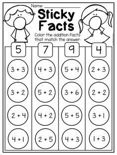 Free Addition And Subtraction Worksheets For Kids Subtraction Kindergarten, Kindergarten Addition Worksheets, Addition And Subtraction Worksheets, Math Addition, Teaching Addition, Kindergarten Curriculum, Number Worksheets, 1st Grade Math, Grade 3