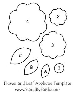 Flower Applique Tutorial With Pattern Flower Applique Patterns, Felt Flower Template, Leaf Template, Felt Patterns, Felt Templates, Applique Templates Free, Ornament Template, Crown Template, Butterfly Template