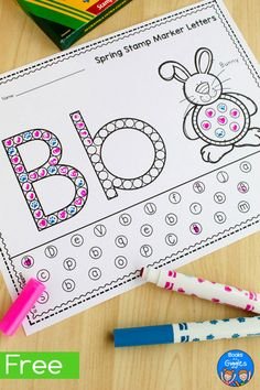 Spring Stamp Marker Worksheets Kids can use stamp markers to fill in these alphabet worksheets! They'll be having to much fun to realize they're practicing letter recognition skills. Preschool Letters, Preschool Learning Activities, Preschool Lessons, Learning Letters, Toddler Activities, Preschool Activities, Preschool Kindergarten, Alphabet Crafts, Letter A Crafts