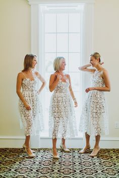 Tea-length illusion lace dress by Self-Portrait