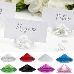 Marque place diamant transparent, deco table mariage - Badaboum