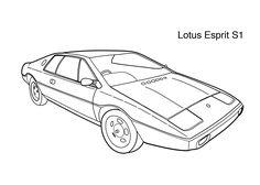 Super car Lotus Esprit S1 coloring page for kids, printable free