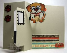 Raquel Mason using the Pop it Ups Rectangle Pull Card, Buster the Dog and Props 4 dies by Karen Burniston for Elizabeth Craft Designs. - Raquel's Stampin' Blog: Buster & Whiskers at Stamp Boutique