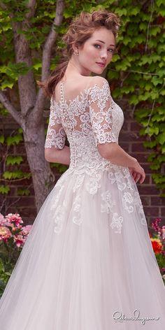 rebecca ingram 2017 bridal half sleeves illusion jewel straight across neckline heavily embellished bodice romantic princess ball gown a  line wedding dress lace back chapel train (yvonne) zbv