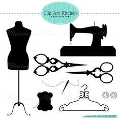 Printable Digital clip art  Sewing Set by UltramarineSTARS on Etsy, $2.99