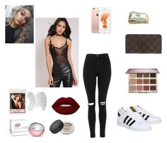 """""""Sunday funk"""" by allgoodbabybaby ❤ liked on Polyvore featuring Topshop, adidas, Lime Crime, Louis Vuitton, DKNY, Anastasia Beverly Hills and tarte"""