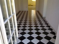 Black and white Tile Floor, Flooring, Contemporary, Black And White, Rugs, Crafts, Home Decor, Black White, Blanco Y Negro