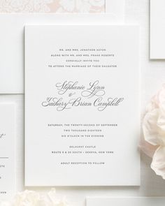 Engraved Wedding Invitations with Classic and Simple Script
