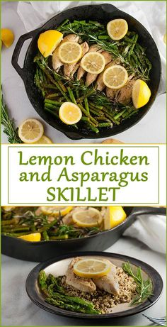 Fast and Healthy Lemon Chicken Asparagus Skillet with Quinoa / A perfect healthy recipe, one pot recipe, family friendly recipe