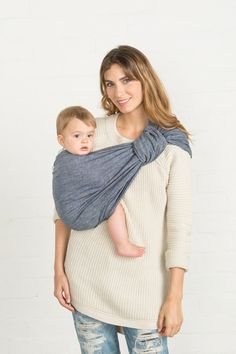 Chambray Linen Baby Sling :: Sakura Bloom