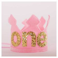 Ready to Ship Pink and Gold Birthday Girl Felt Crown, Felt Crown, Birthday Crown, 1st birthday, photo prop, photography prop, baby birthday on Etsy, $24.95