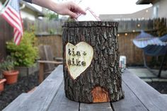 Perfect for collecting cards at a rustic wedding.