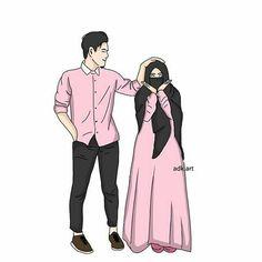 I love hijab . Cute Muslim Couples, Muslim Girls, Cute Couples, Muslim Brides, Muslim Couple Quotes, Love Cartoon Couple, Cute Couple Art, Muslim Pictures, Islamic Pictures