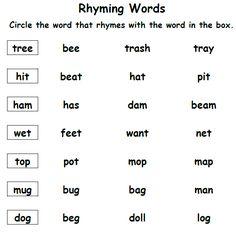 Phonics Worksheets Grade 1, Nouns And Verbs Worksheets, Rhyming Worksheet, Sight Word Flashcards, School Worksheets, English Grammar For Kids, Learning English For Kids, English Worksheets For Kids, Learn English Words