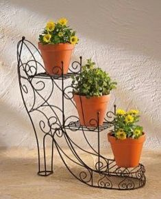 41 New Ideas iron garden furniture house House Plants Decor, Plant Decor, Iron Furniture, Garden Furniture, Landscape Stairs, Wrought Iron Decor, Metal Plant Stand, Steel Art, Flower Stands