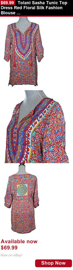 Women clothing: Tolani Sasha Tunic Top Dress Red Floral Silk Fashion Blouse S New BUY IT NOW ONLY: $69.99