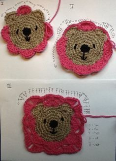 Teddy Bear Granny Square with  English Pattern