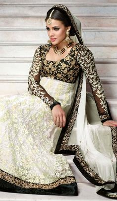 G3 Fashions Off White Net Wedding Wear Designer Salwar Suit  Product Code : G3-LSA105066 Price : INR RS 6182
