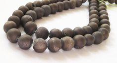 Titanium Druzy Round Beads Gray Pixie Dust Silver by BijiBijoux