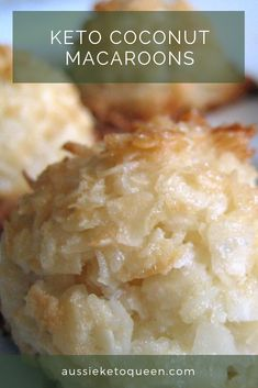 Keto Coconut Macaroons - desiccated coconut egg whites xylitol (sub erythritol/another sweetener) vanilla extract salt coconut flour) Sugar Free Desserts, Low Carb Desserts, Low Carb Recipes, Dessert Recipes, Healthier Desserts, Protein Recipes, Dessert Ideas, Recipe Using Egg Whites, Recipes Using Egg