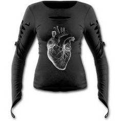 Slashed gothic top with anatomical heart print