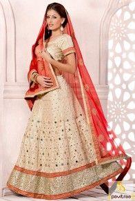 Beige Color Net Designer Wedding Bridal Lehenga for Marriage