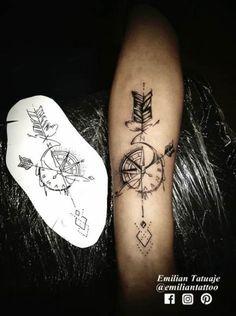 Compass tattoo clock arrow - Tattoo Thinks Tattoo Lettering Design, Lily Tattoo Design, Tattoo Designs, Tattoo Ideas, Arrow Compass Tattoo, Compass Tattoo Design, Arrow Tattoos, Geometric Arrow Tattoo, Bird Tattoos