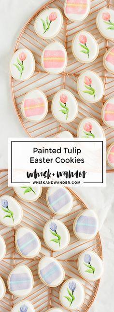 Painted tulip Easter cookies + the ultimate sugar cookie recipe. via @whiskwander