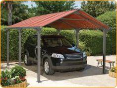 Frontier 5000 Car Port - Carports at Hayneedle Carport Patio, Carport Kits, Carport Plans, Carport Garage, Pergola Plans, Carport Ideas, Garage Ideas, Diy Garage, Fence Ideas