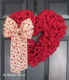 Red Burlap Valentine Heart Wreath with Polka Dot Bow. Rustic for home and door decor, gifts, or saying I love or miss you to someone special. - Handcrafted with red burlap - Red chevron burlap bow - S