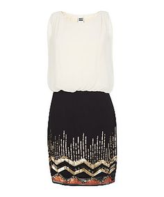 Black Pattern (Black) Vero Moda Cream Contrast Embellished Dress | 290298709 | New Look