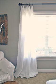 Floor length curtains- DIY cheap long curtains made out of tablecloths.