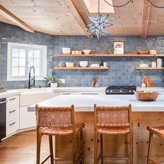 Maya Blue Zellige - Handmade Moroccan Tile from Zia Tile Blue Moroccan Tile, Moroccan Kitchen, Kitchen Flooring, Kitchen Backsplash, Blue Kitchen Tiles, Tile Design, Decoration, Home Kitchens, Kitchen Remodel