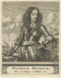 Christiaan Hagen | Portret van Willem II, prins van Oranje, Christiaan Hagen, c. 1663 - 1695 | Portret van Willem II, prins van Oranje, gekleed in een harnas. In zijn rechterhand houdt hij een commandostaf. Op de achtergrond is een veldslag afgebeeld. Onder zijn portret een plint, waarop zijn naam en titel in twee regels in een cartouche.