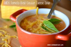 Quick Homemade Tomato Basil Cheddar Cheese Soup from www.shrinkingkitchen.com #soup #quick #healthy