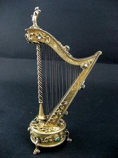 Antique Austrian Gilt Silver Jeweled Music Box In The Shape Of A Harp from the-vault on Ruby Lane