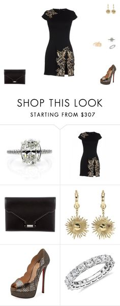 """Sem título #1477"" by crepusculo55 ❤ liked on Polyvore featuring Dsquared2, Hermès, E L L E R Y, Christian Louboutin, Blue Nile and Kate Spade"