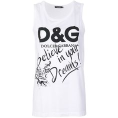 Dolce & Gabbana printed tank top (240 CAD) ❤ liked on Polyvore featuring tops, white, white tank tops, white sleeveless top, white top, sleeveless tank and cotton sleeveless tops