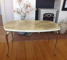 Mid century coffee table faux marble brass by TheLittleIrishShop Furniture, Mid Century, Vintage House, Faux Marble, Dining Table, Table, Regency Furniture, Mid Century Coffee Table, Coffee Table