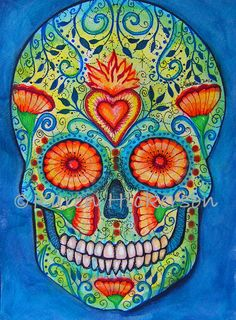 Day of the Dead SUGAR SKULL Folk Art Primitive Modern Wicked Cool Abstract Print Painting Karen Hickerson. $18.00, via Etsy.