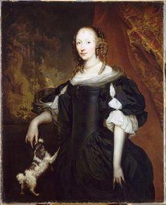 Portrait de femme by Jan de Baen (1633-1702).  Another painting that provides important details about mid-17th C. women's dress.