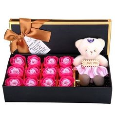 Perfect Valentines Day Gift With A Bear For Mother 1 Box Rose Flower Soap Gift Box For Bath Elegant In Style blue Wife Or Girlfriend