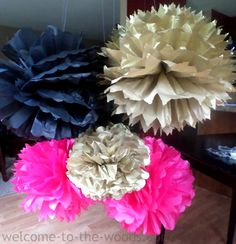 The most detailed and complete photo tutorial for how to make tissue paper pom poms with supplies you probably already have! A great party decoration idea!