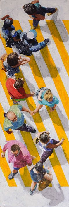 """Pedestrians 2014-72"", 30 x 10, Mixed Media, $900, Jim Zwadlo, Eisenhauer Gallery"