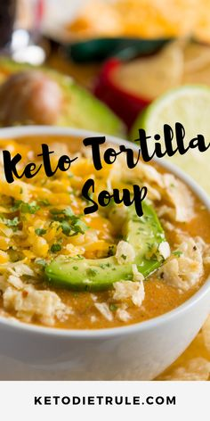 The Best Low-Carb Keto Chicken Tortilla Soup Recipe - Keto Recipes - Ideas of Keto Recipes - Best low-carb Keto Mexican tortilla soup recipe. Ketogenic Recipes, Healthy Recipes, Low Carb Crockpot Recipes, Best Food Recipes, Quick Keto Meals, Dairy Free Keto Recipes, Keto Smoothie Recipes, Best Low Carb Recipes, Keto Foods