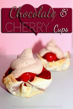 Could be done with sugar free filling 3 Ingredient Chocolate Cherry Cups Pie Dessert, Dessert Recipes, Easy Desserts, Delicious Desserts, Yummy Treats, Sweet Treats, Cherry Recipes, Sweet Cherries, Chocolate Cherry
