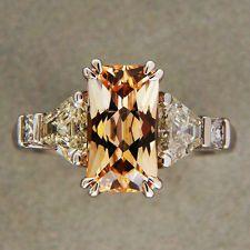 3.31ct Orange Yellow Natural Sapphire .81ct Trapezoid Diamond Platinum Ring